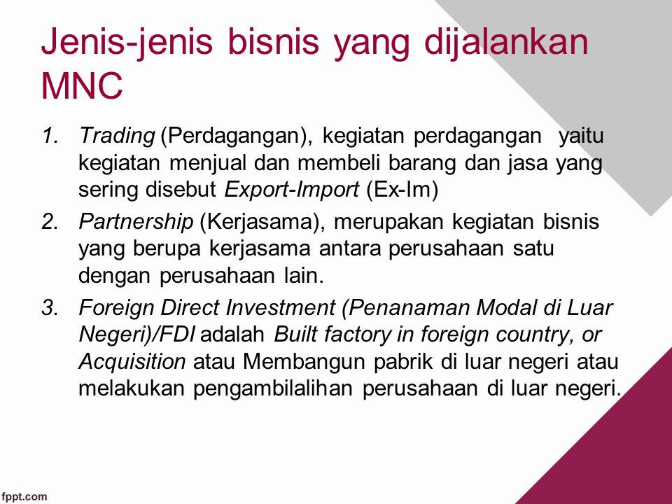Jenis-jenis bisnis yang dijalankan MNC 1.Trading (Perdagangan), kegiatan perdagangan yaitu kegiatan menjual dan membeli barang dan jasa yang sering di