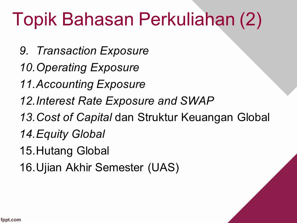 Topik Bahasan Perkuliahan (2) 9.Transaction Exposure 10.Operating Exposure 11.Accounting Exposure 12.Interest Rate Exposure and SWAP 13.Cost of Capita