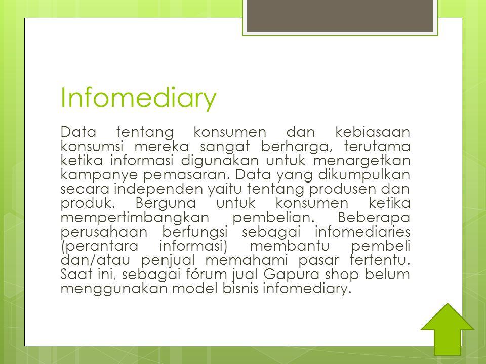 Infomediary Data tentang konsumen dan kebiasaan konsumsi mereka sangat berharga, terutama ketika informasi digunakan untuk menargetkan kampanye pemasaran.