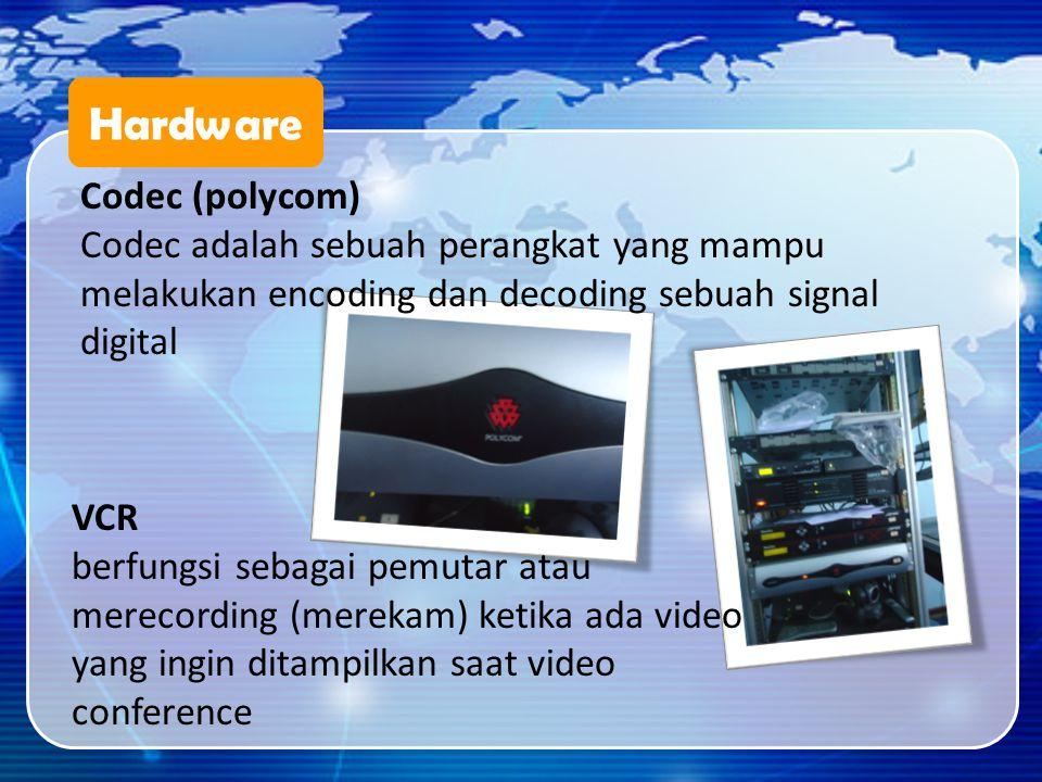 Hardware Codec (polycom) Codec adalah sebuah perangkat yang mampu melakukan encoding dan decoding sebuah signal digital VCR berfungsi sebagai pemutar