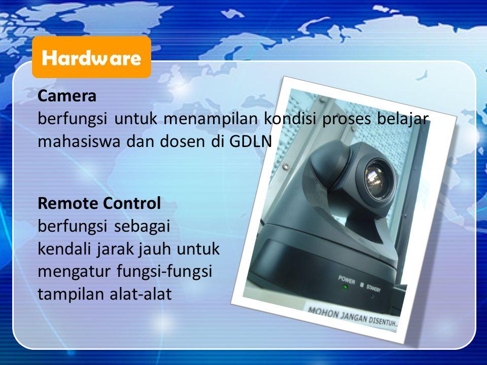 Hardware Camera berfungsi untuk menampilan kondisi proses belajar mahasiswa dan dosen di GDLN Remote Control berfungsi sebagai kendali jarak jauh untu