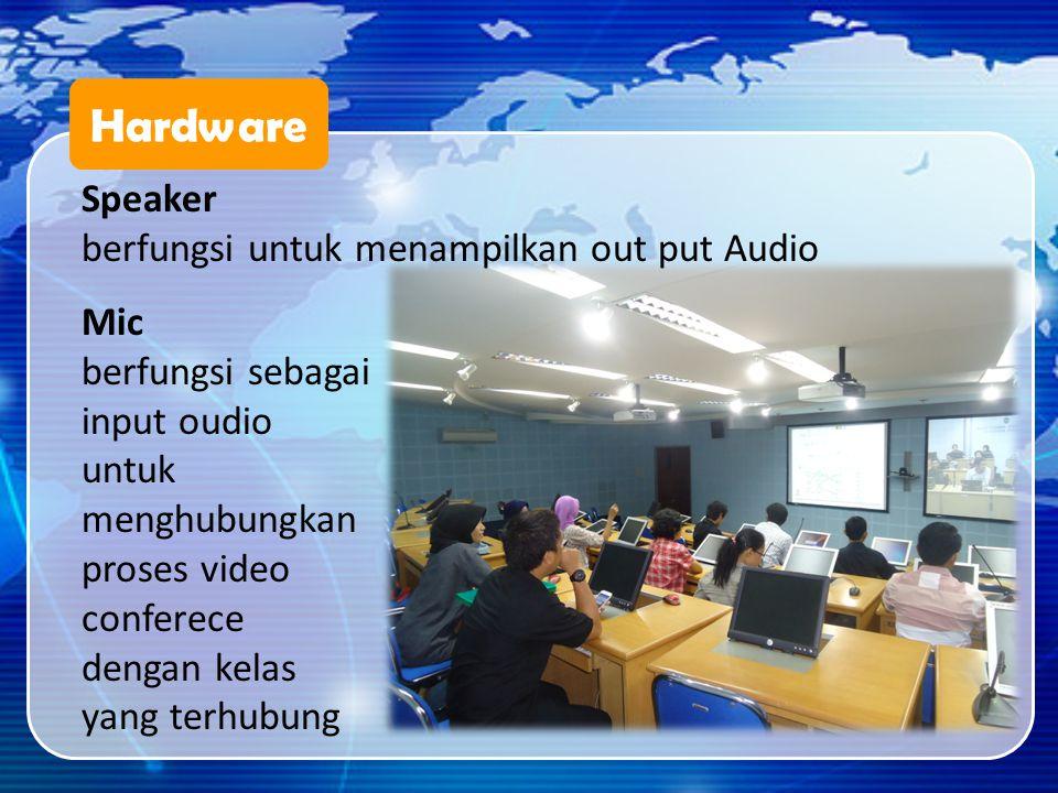 Hardware Speaker berfungsi untuk menampilkan out put Audio Mic berfungsi sebagai input oudio untuk menghubungkan proses video conferece dengan kelas y