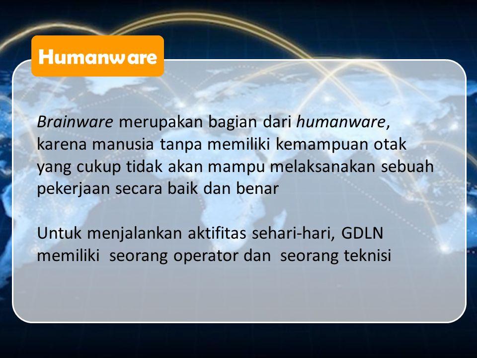 Humanware Brainware merupakan bagian dari humanware, karena manusia tanpa memiliki kemampuan otak yang cukup tidak akan mampu melaksanakan sebuah peke