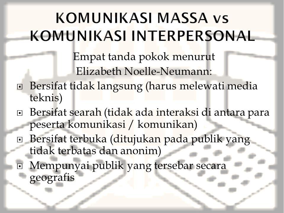 Empat tanda pokok menurut Elizabeth Noelle-Neumann:  Bersifat tidak langsung (harus melewati media teknis)  Bersifat searah (tidak ada interaksi di