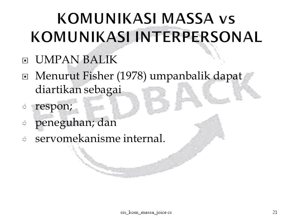  UMPAN BALIK  Menurut Fisher (1978) umpanbalik dapat diartikan sebagai  respon;  peneguhan; dan  servomekanisme internal. sis_kom_massa_joice cs2