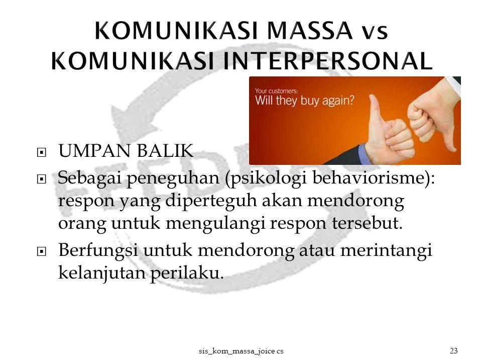  UMPAN BALIK  Sebagai peneguhan (psikologi behaviorisme): respon yang diperteguh akan mendorong orang untuk mengulangi respon tersebut.  Berfungsi