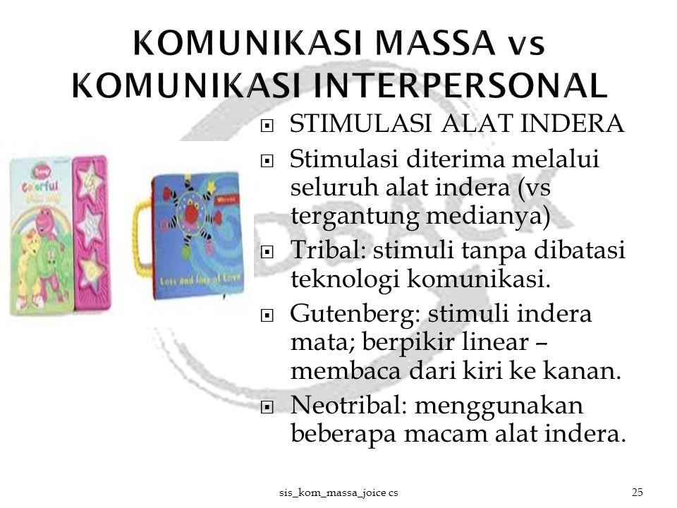  STIMULASI ALAT INDERA  Stimulasi diterima melalui seluruh alat indera (vs tergantung medianya)  Tribal: stimuli tanpa dibatasi teknologi komunikas