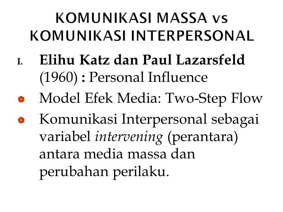 I. Elihu Katz dan Paul Lazarsfeld (1960) : Personal Influence  Model Efek Media: Two-Step Flow  Komunikasi Interpersonal sebagai variabel intervenin