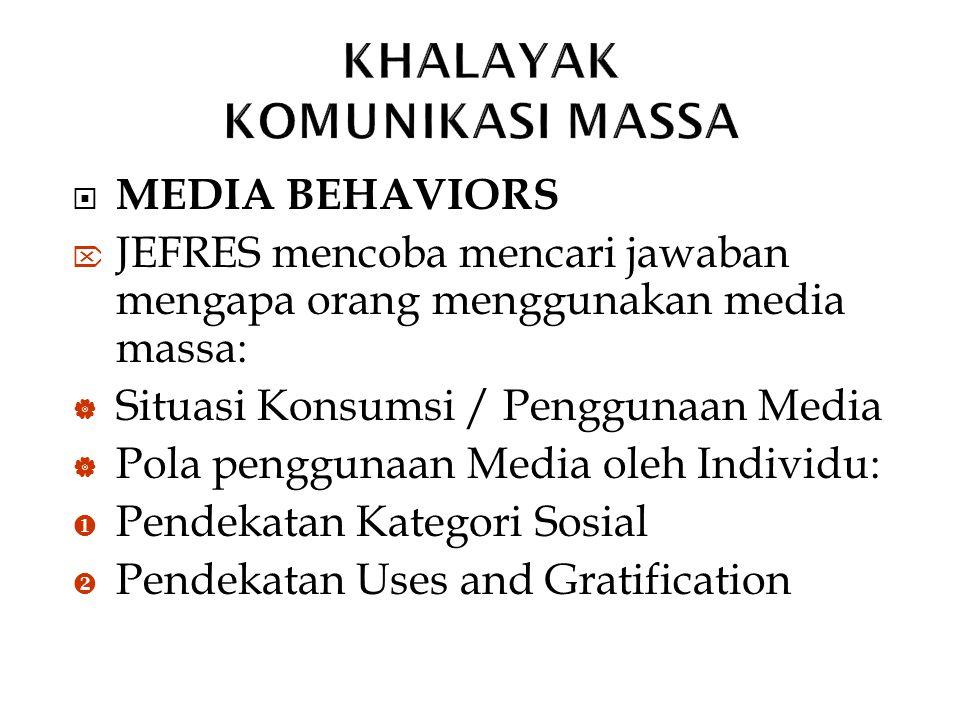  MEDIA BEHAVIORS  JEFRES mencoba mencari jawaban mengapa orang menggunakan media massa:  Situasi Konsumsi / Penggunaan Media  Pola penggunaan Medi