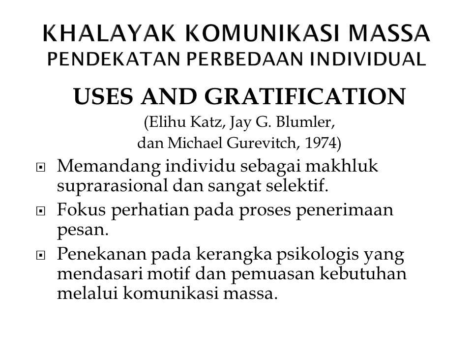 USES AND GRATIFICATION (Elihu Katz, Jay G. Blumler, dan Michael Gurevitch, 1974)  Memandang individu sebagai makhluk suprarasional dan sangat selekti