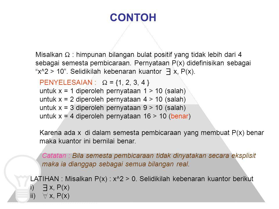 TERJEMAHAN KUANTOR KE DALAM BAHASA INDONESIA LANGKAH-LANGKAH : 1.Tulis makna dari setiap kuantor 2.Sajikan makna ini dalam kalimat sederhana (mudah dimengerti) CONTOH : Misalkan x, y variabel untuk mahasiswa di kampus ini.