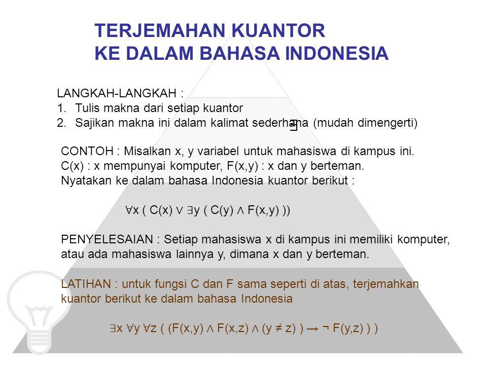 TERJEMAHAN KUANTOR KE DALAM BAHASA INDONESIA LANGKAH-LANGKAH : 1.Tulis makna dari setiap kuantor 2.Sajikan makna ini dalam kalimat sederhana (mudah di