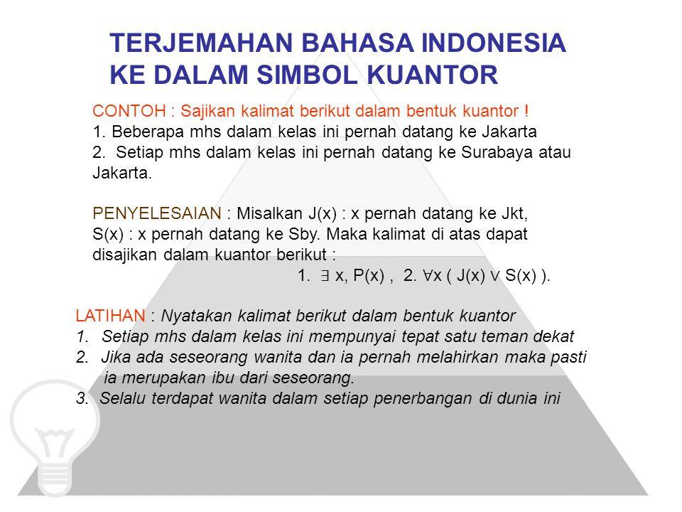 TERJEMAHAN BAHASA INDONESIA KE DALAM SIMBOL KUANTOR CONTOH : Sajikan kalimat berikut dalam bentuk kuantor ! 1. Beberapa mhs dalam kelas ini pernah dat