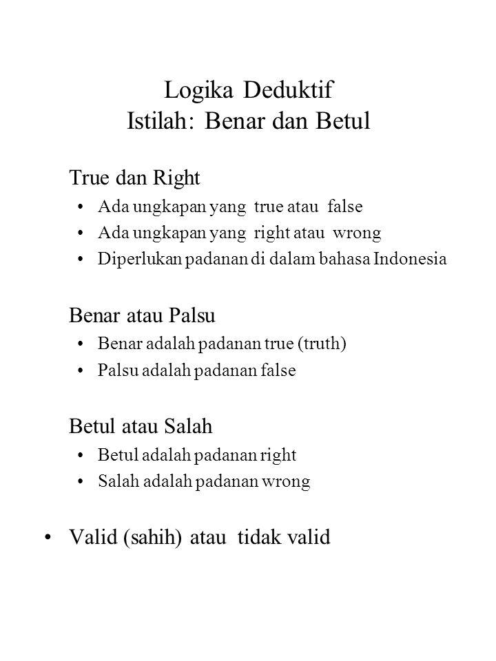 Logika Deduktif Istilah: Benar dan Betul True dan Right Ada ungkapan yang true atau false Ada ungkapan yang right atau wrong Diperlukan padanan di dal