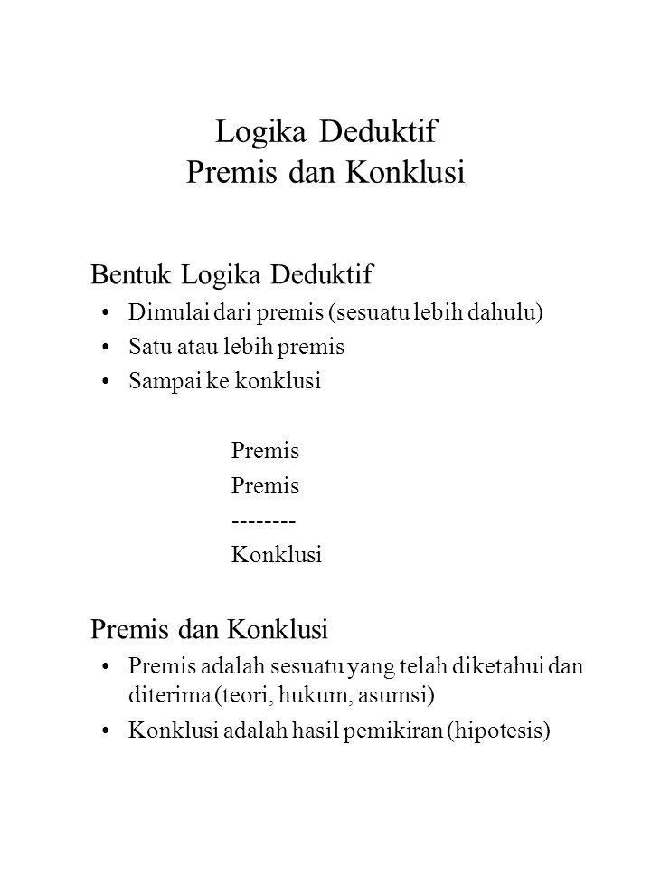 Logika Deduktif Premis dan Konklusi Bentuk Logika Deduktif Dimulai dari premis (sesuatu lebih dahulu) Satu atau lebih premis Sampai ke konklusi Premis