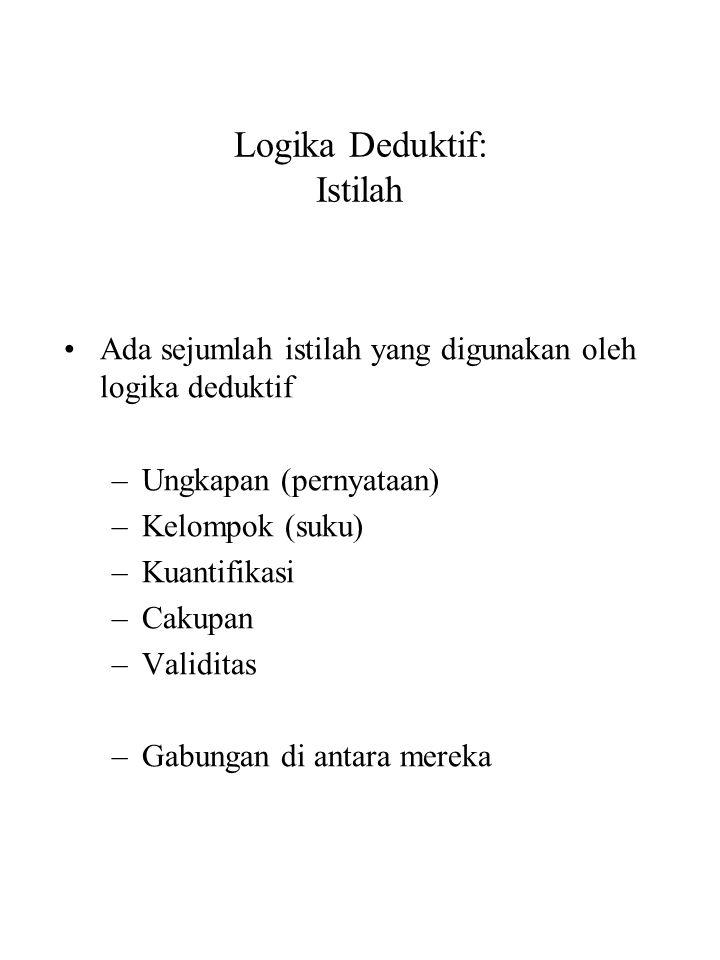 Logika Deduktif: Istilah Ada sejumlah istilah yang digunakan oleh logika deduktif –Ungkapan (pernyataan) –Kelompok (suku) –Kuantifikasi –Cakupan –Vali