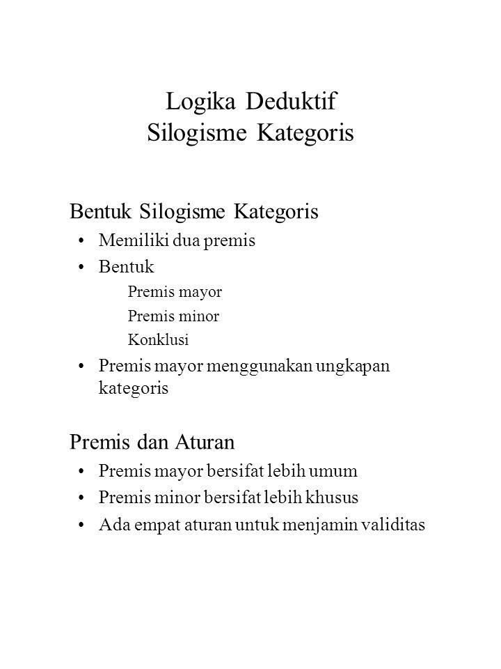 Logika Deduktif Silogisme Kategoris Bentuk Silogisme Kategoris Memiliki dua premis Bentuk Premis mayor Premis minor Konklusi Premis mayor menggunakan