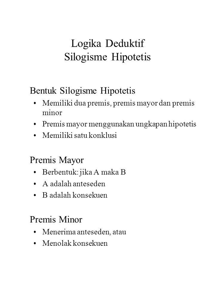 Logika Deduktif Silogisme Hipotetis Bentuk Silogisme Hipotetis Memiliki dua premis, premis mayor dan premis minor Premis mayor menggunakan ungkapan hi