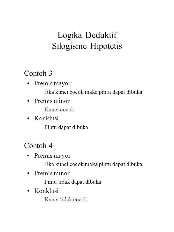 Logika Deduktif Silogisme Hipotetis Contoh 3 Premis mayor Jika kunci cocok maka pintu dapat dibuka Premis minor Kunci cocok Konklusi Pintu dapat dibuk