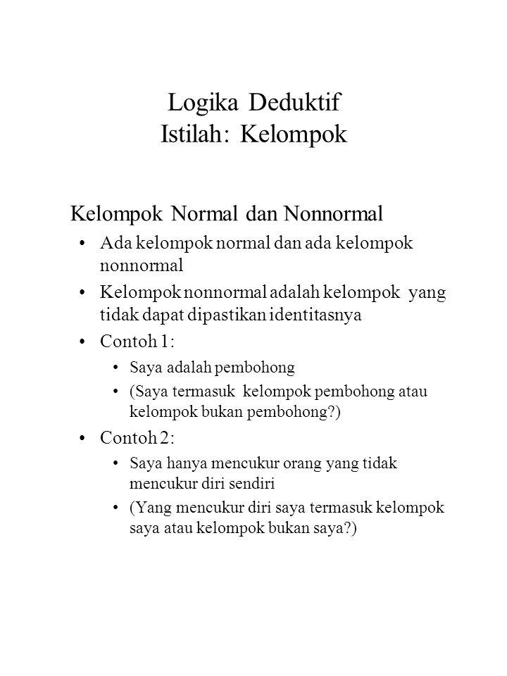 Logika Deduktif Istilah: Kelompok Kelompok Normal dan Nonnormal Ada kelompok normal dan ada kelompok nonnormal Kelompok nonnormal adalah kelompok yang