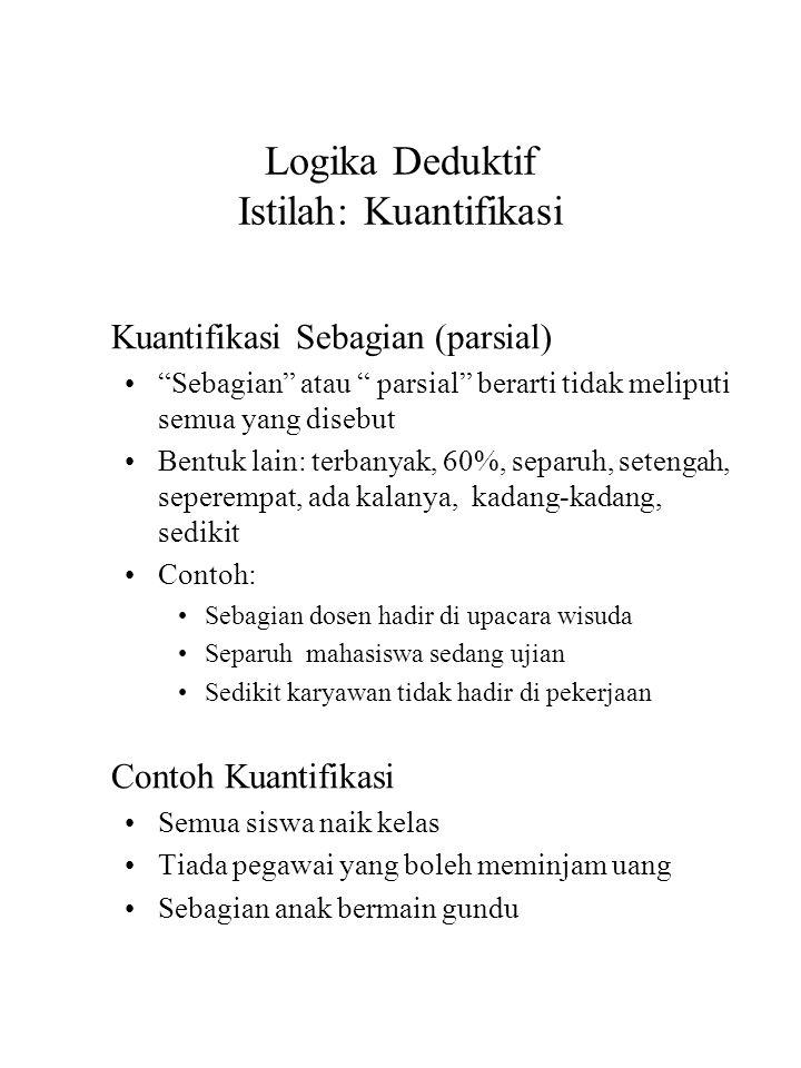 """Logika Deduktif Istilah: Kuantifikasi Kuantifikasi Sebagian (parsial) """"Sebagian"""" atau """" parsial"""" berarti tidak meliputi semua yang disebut Bentuk lain"""