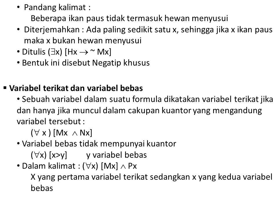 Pandang kalimat : Beberapa ikan paus tidak termasuk hewan menyusui Diterjemahkan : Ada paling sedikit satu x, sehingga jika x ikan paus maka x bukan hewan menyusui Ditulis (  x) [Hx  ~ Mx] Bentuk ini disebut Negatip khusus  Variabel terikat dan variabel bebas Sebuah variabel dalam suatu formula dikatakan variabel terikat jika dan hanya jika muncul dalam cakupan kuantor yang mengandung variabel tersebut : (  x ) [Mx  Nx] Variabel bebas tidak mempunyai kuantor (  x) [x>y] y variabel bebas Dalam kalimat : (  x) [Mx]  Px X yang pertama variabel terikat sedangkan x yang kedua variabel bebas