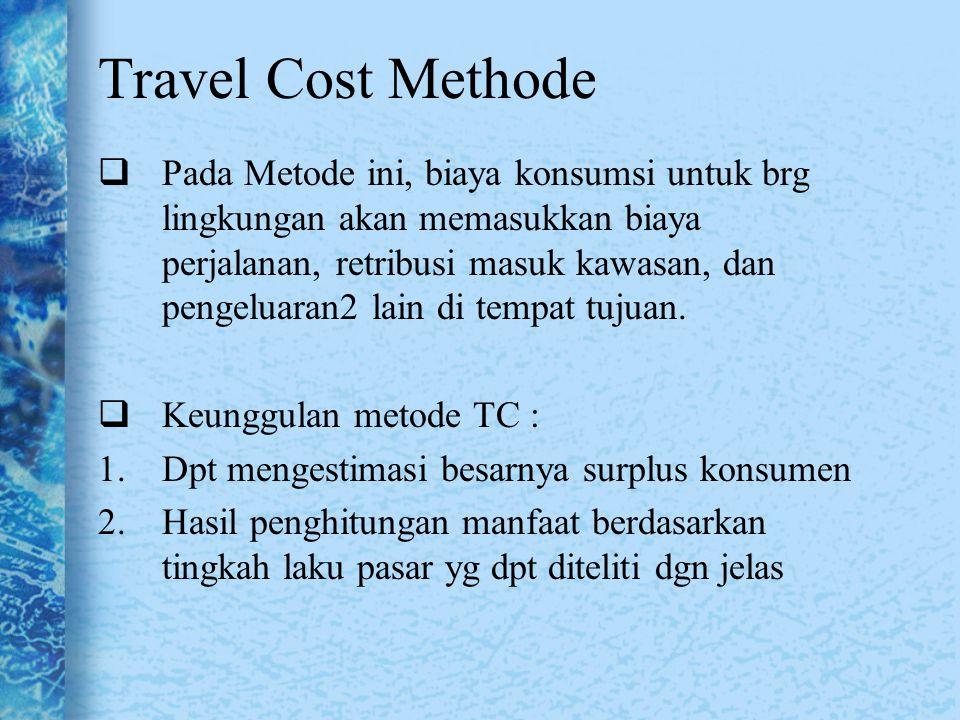 Pada Metode ini, biaya konsumsi untuk brg lingkungan akan memasukkan biaya perjalanan, retribusi masuk kawasan, dan pengeluaran2 lain di tempat tuju