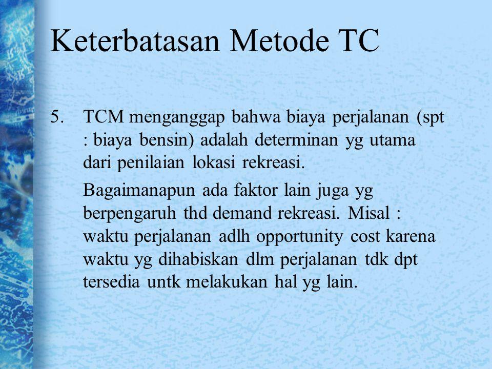 Keterbatasan Metode TC 5.TCM menganggap bahwa biaya perjalanan (spt : biaya bensin) adalah determinan yg utama dari penilaian lokasi rekreasi. Bagaima
