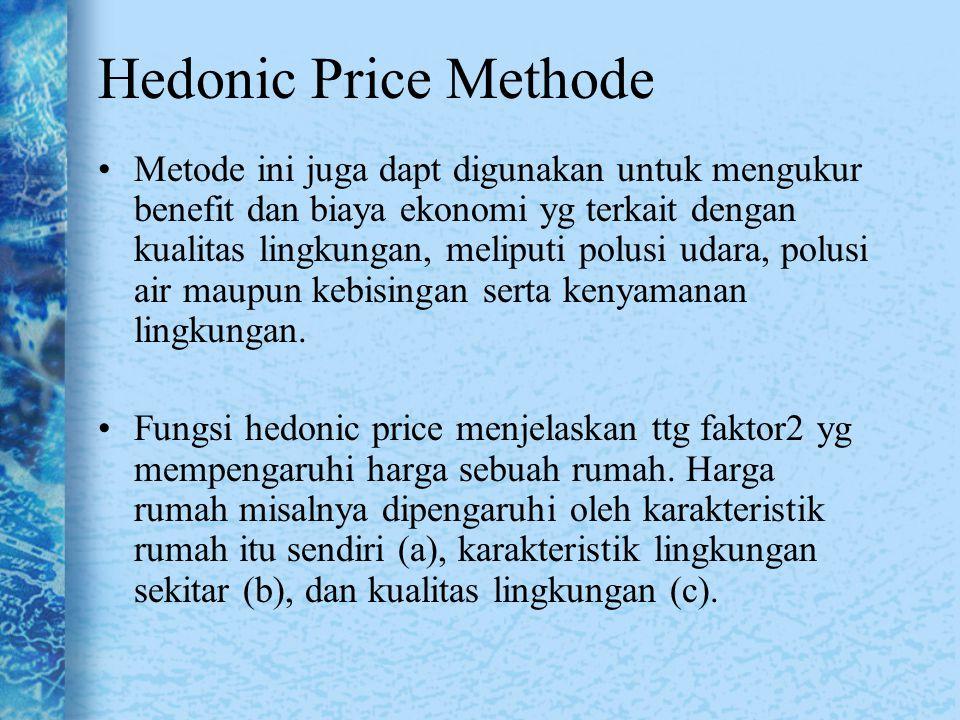 Metode ini juga dapt digunakan untuk mengukur benefit dan biaya ekonomi yg terkait dengan kualitas lingkungan, meliputi polusi udara, polusi air maupu