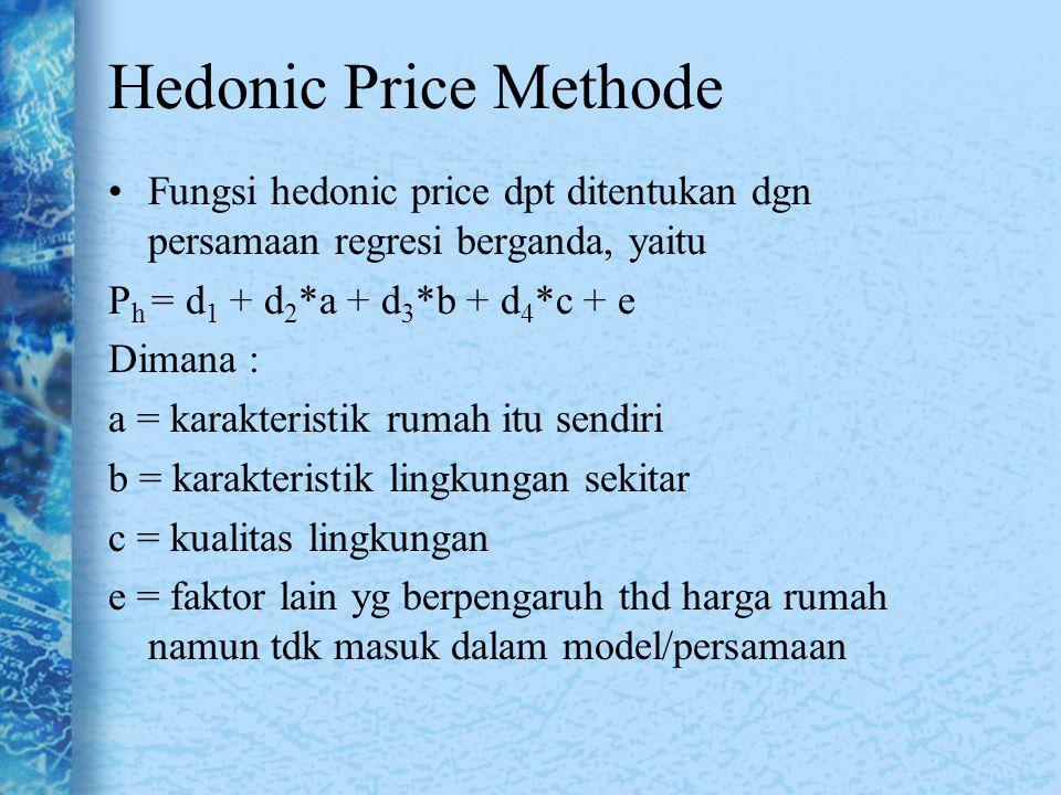 Fungsi hedonic price dpt ditentukan dgn persamaan regresi berganda, yaitu P h = d 1 + d 2 *a + d 3 *b + d 4 *c + e Dimana : a = karakteristik rumah it