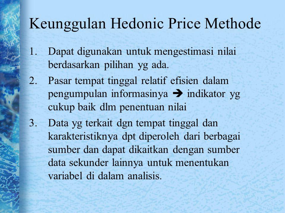 Keunggulan Hedonic Price Methode 1.Dapat digunakan untuk mengestimasi nilai berdasarkan pilihan yg ada. 2.Pasar tempat tinggal relatif efisien dalam p