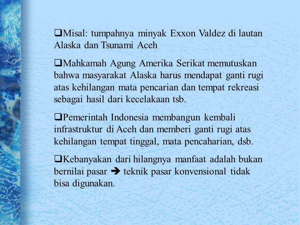 VALUASI EKONOMI Jenis pendekatan penilaian ekonomis (Barbier, 1997) 1.