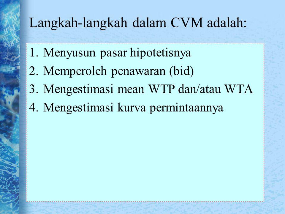 Langkah-langkah dalam CVM adalah: 1.Menyusun pasar hipotetisnya 2.Memperoleh penawaran (bid) 3.Mengestimasi mean WTP dan/atau WTA 4.Mengestimasi kurva