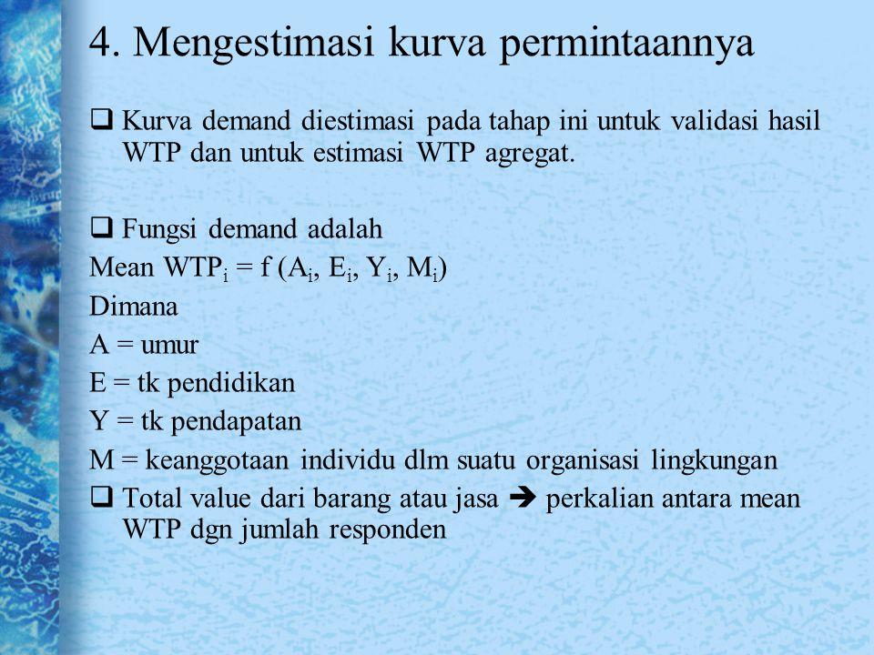 4. Mengestimasi kurva permintaannya  Kurva demand diestimasi pada tahap ini untuk validasi hasil WTP dan untuk estimasi WTP agregat.  Fungsi demand