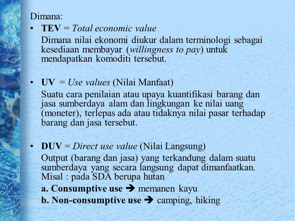 Dimana: TEV = Total economic value Dimana nilai ekonomi diukur dalam terminologi sebagai kesediaan membayar (willingness to pay) untuk mendapatkan kom