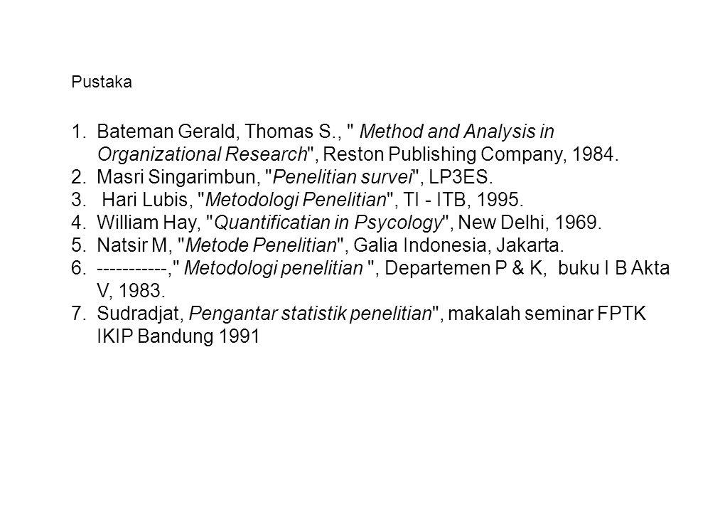 1.Bateman Gerald, Thomas S., Method and Analysis in Organizational Research , Reston Publishing Company, 1984.