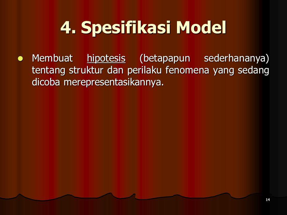 14 4. Spesifikasi Model Membuat hipotesis (betapapun sederhananya) tentang struktur dan perilaku fenomena yang sedang dicoba merepresentasikannya. Mem