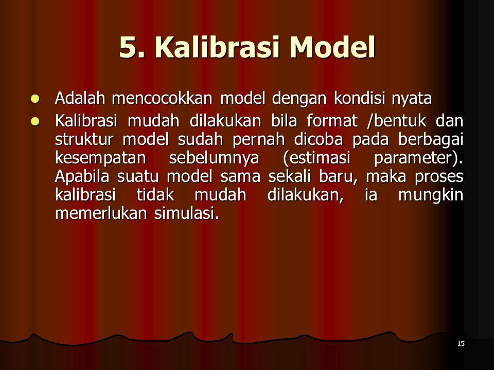 15 5. Kalibrasi Model Adalah mencocokkan model dengan kondisi nyata Adalah mencocokkan model dengan kondisi nyata Kalibrasi mudah dilakukan bila forma