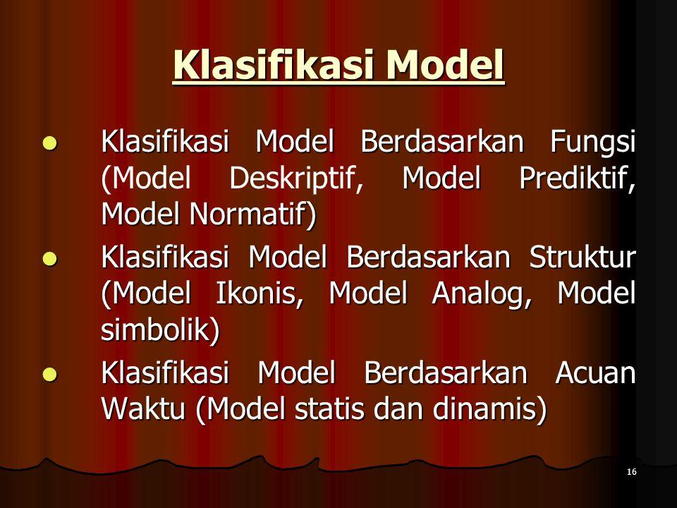 16 Klasifikasi Model Klasifikasi Model Berdasarkan Fungsi Model Prediktif, Model Normatif) Klasifikasi Model Berdasarkan Fungsi (Model Deskriptif, Mod
