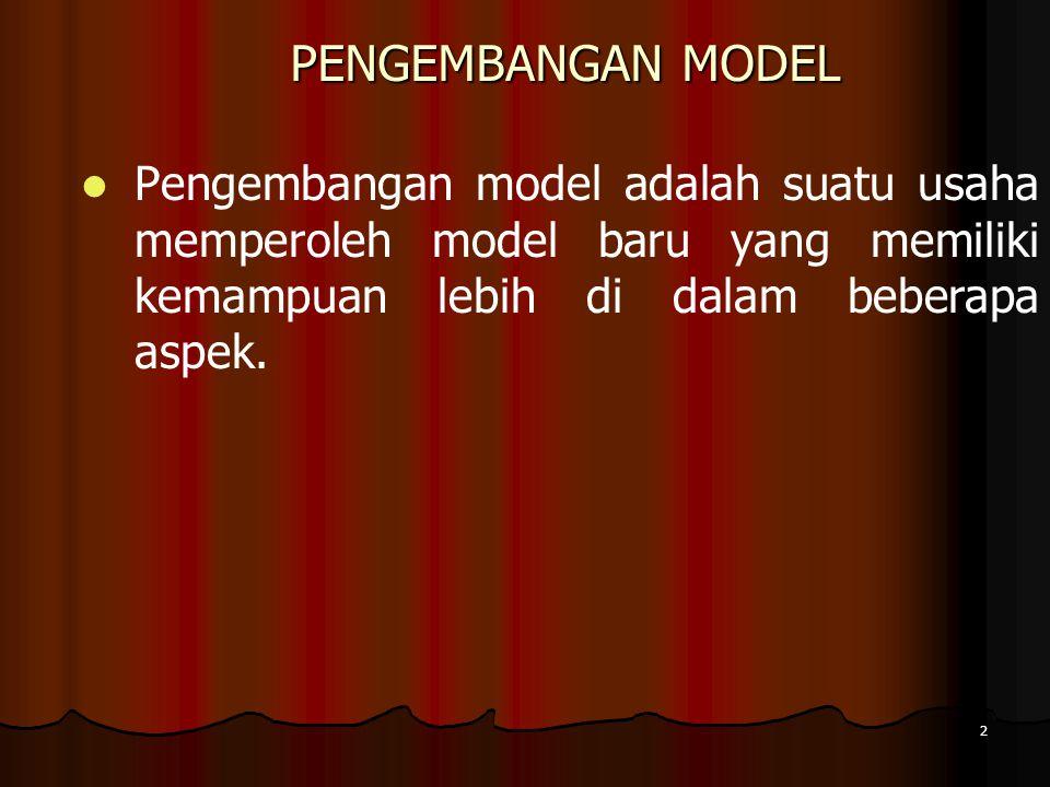 2 PENGEMBANGAN MODEL Pengembangan model adalah suatu usaha memperoleh model baru yang memiliki kemampuan lebih di dalam beberapa aspek.