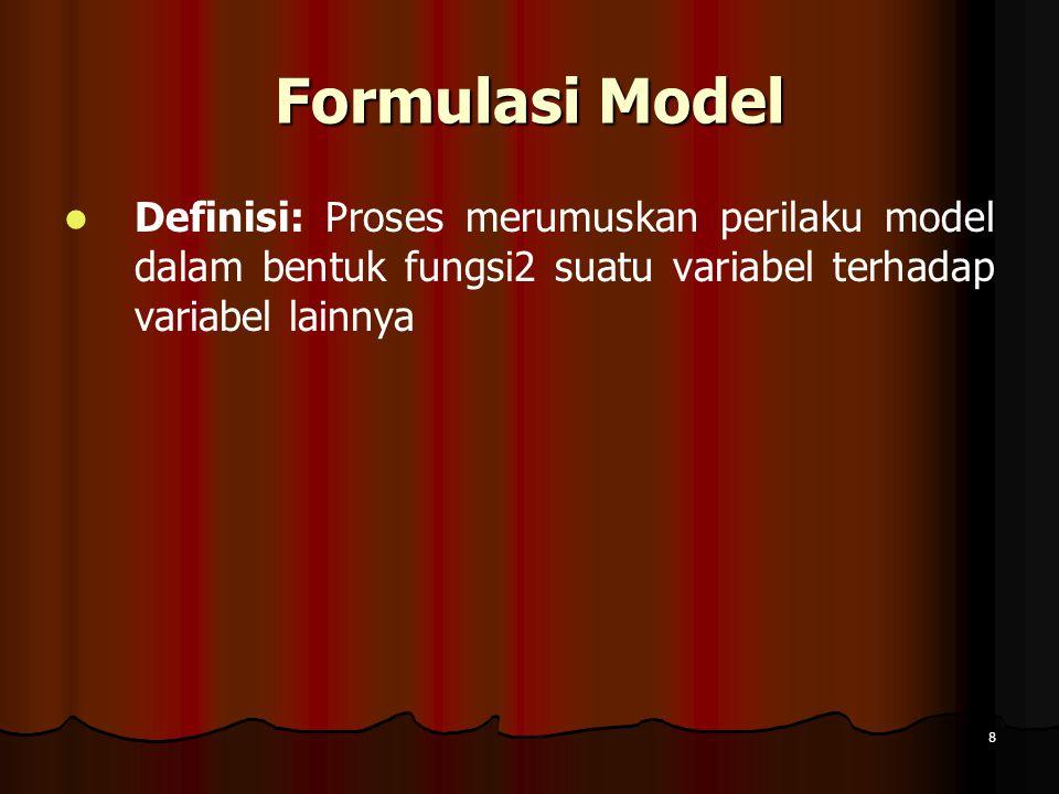 8 Formulasi Model Definisi: Proses merumuskan perilaku model dalam bentuk fungsi2 suatu variabel terhadap variabel lainnya