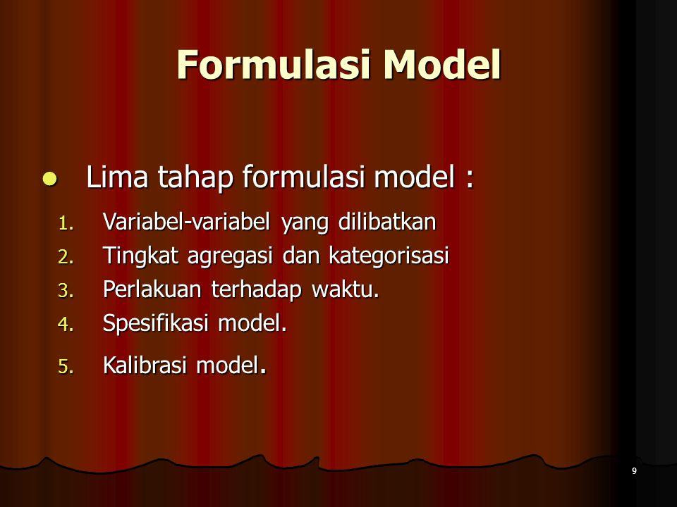 9 Formulasi Model Lima tahap formulasi model : Lima tahap formulasi model : 1. Variabel-variabel yang dilibatkan 2. Tingkat agregasi dan kategorisasi