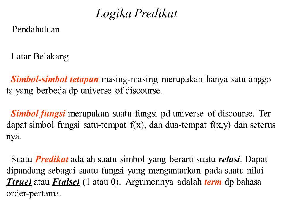 Logika Predikat Pendahuluan Latar Belakang Simbol-simbol tetapan masing-masing merupakan hanya satu anggo ta yang berbeda dp universe of discourse. Si