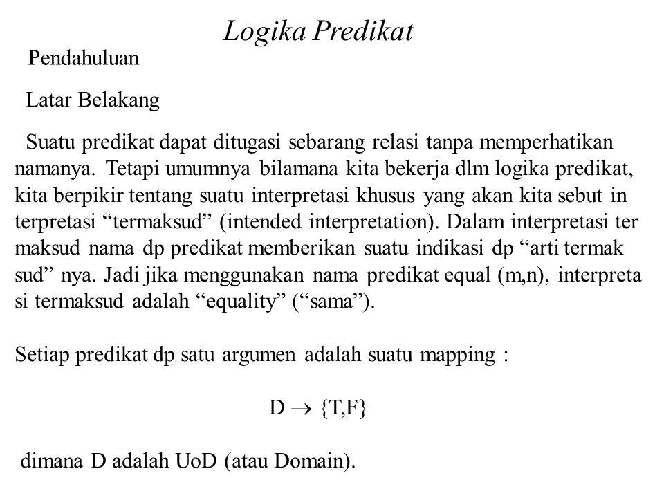 Logika Predikat Pendahuluan Latar Belakang Suatu predikat dapat ditugasi sebarang relasi tanpa memperhatikan namanya.