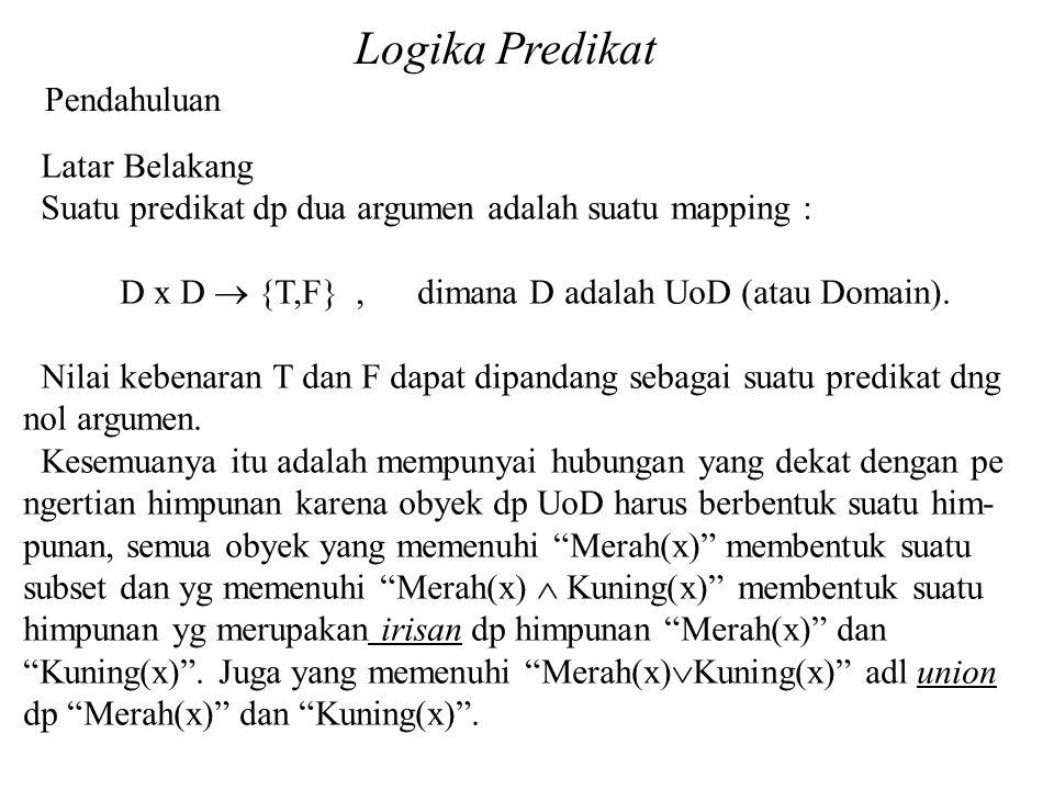 Logika Predikat Pendahuluan Latar Belakang Suatu predikat dp dua argumen adalah suatu mapping : D x D  {T,F}, dimana D adalah UoD (atau Domain).