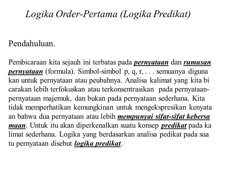 Logika Order-Pertama (Logika Predikat) Pendahuluan. Pembicaraan kita sejauh ini terbatas pada pernyataan dan rumusan pernyataan (formula). Simbol-simb