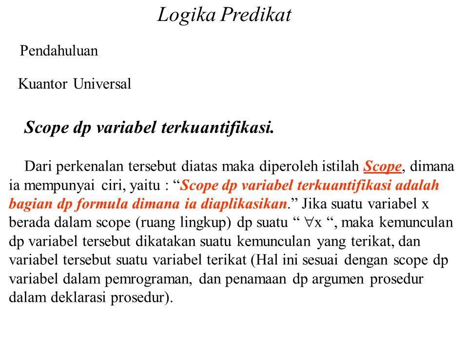 Logika Predikat Pendahuluan Kuantor Universal Scope dp variabel terkuantifikasi. Dari perkenalan tersebut diatas maka diperoleh istilah Scope, dimana