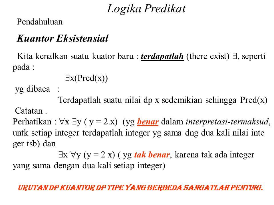 Logika Predikat Pendahuluan Kuantor Eksistensial Kita kenalkan suatu kuator baru : terdapatlah (there exist) , seperti pada :  x(Pred(x)) yg dibaca