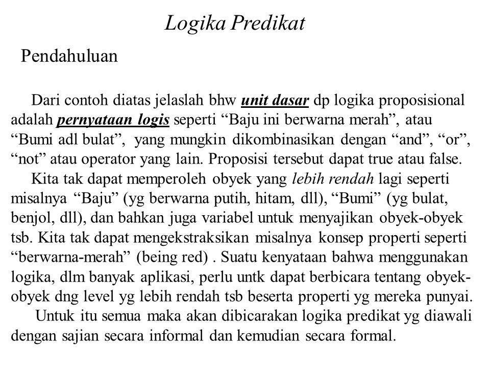 Logika Predikat Pendahuluan Ekspresi kalimat Harian sebagai FoL (Fisrt-order Language) Contoh-Contoh a).