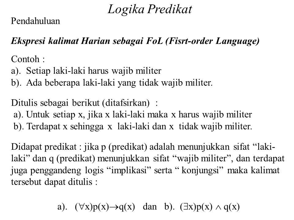 Logika Predikat Pendahuluan Ekspresi kalimat Harian sebagai FoL (Fisrt-order Language) Contoh : a). Setiap laki-laki harus wajib militer b). Ada beber